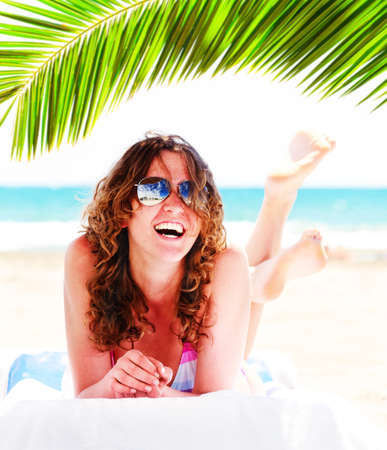 pretty woman on beach Stock Photo - 12115752