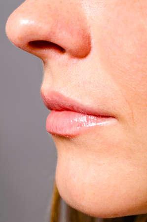 nose close up: beautiful female face