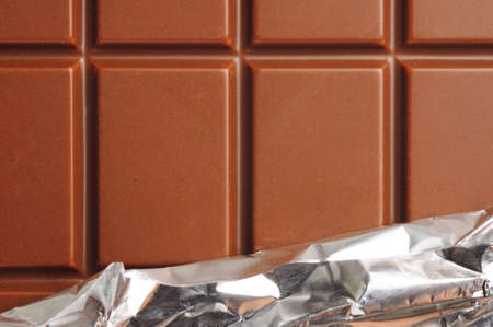 candy bar: closeup of chocolate with foil wrapping