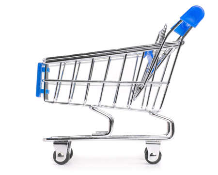side view of a shopping cart isolated on white photo