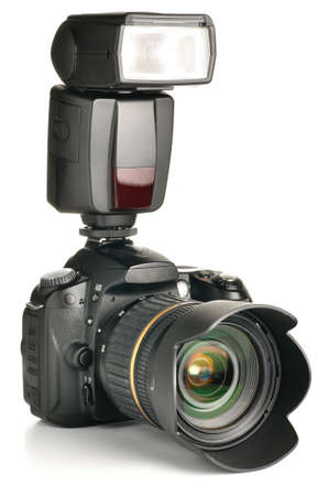 digicam: photo camera with an external flash attached Stock Photo