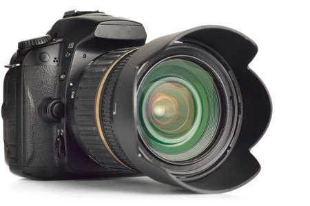 professionele digitale foto camera geà ¯ soleerd op wit Stockfoto