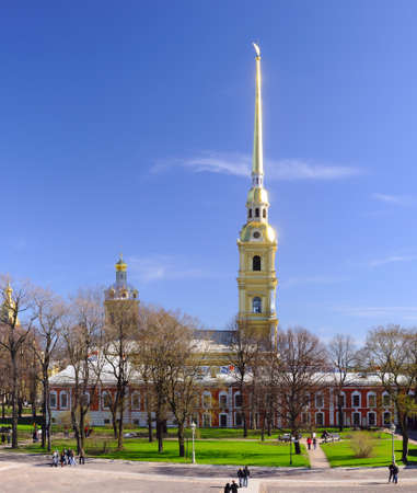 Peter and Paul Cathedral at sunny weather in Saint-Petersburg, Russia photo