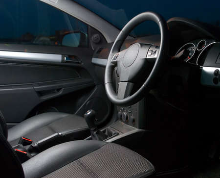 silver sports car: inside of a modern car Stock Photo