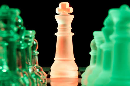 red and green glass chess pieces Stock Photo - 13758215