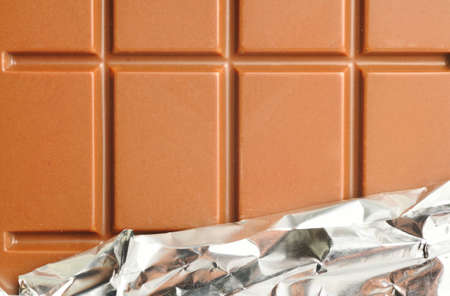 closeup of chocolate with foil wrapping photo
