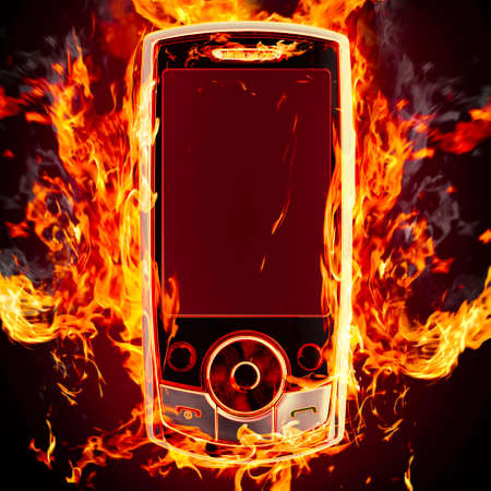 burning phone photo