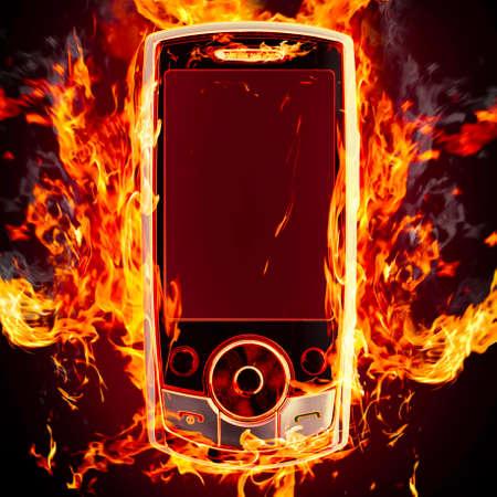 burning phone Stock Photo - 13758299