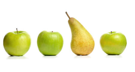 three apples and pear photo