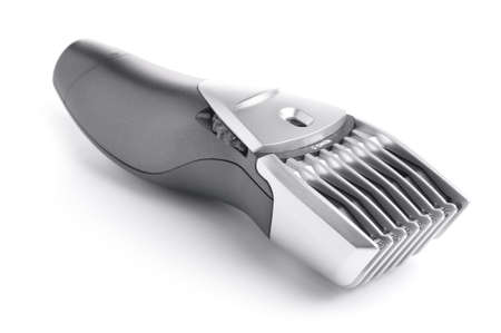 man haircut: close-up of a modern hair clipper isolated on white