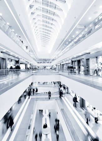 shopping man: panoramic view of a modern mall