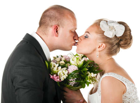 wedding couple kissing photo