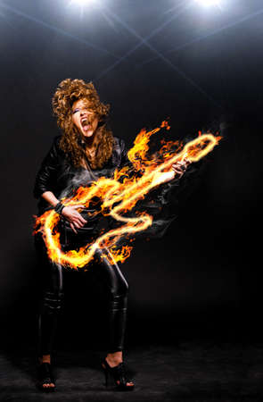 fire show: playing rock music