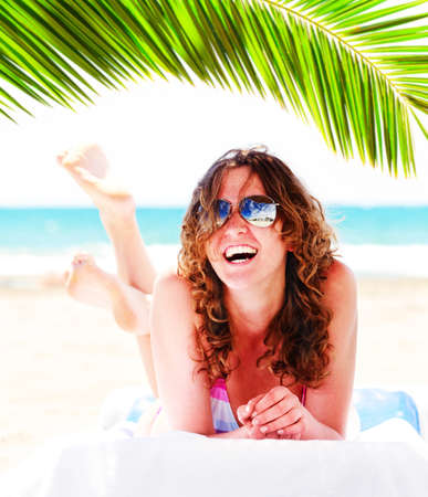 pretty woman on beach photo
