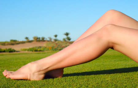 sexy female legs on the grass photo