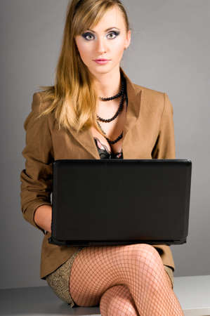 sexy office girl: sexy business woman Stock Photo