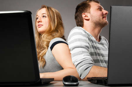 couple with laptop Stock Photo - 13820518