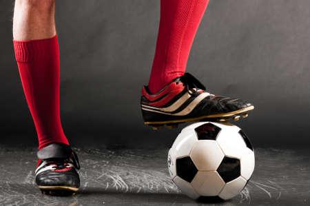 benen van voetballer Stockfoto
