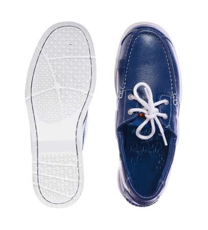 blue leather deck shoes photo