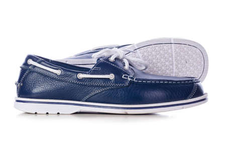 blue leather deck shoes Stock Photo - 14494328