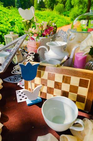tea party: tea party in park Stock Photo