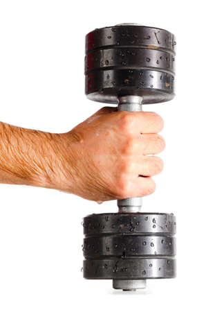 male hand with metal barbell photo