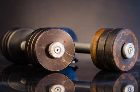 dumbells: metal barbells Stock Photo