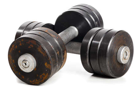two used metal barbells photo