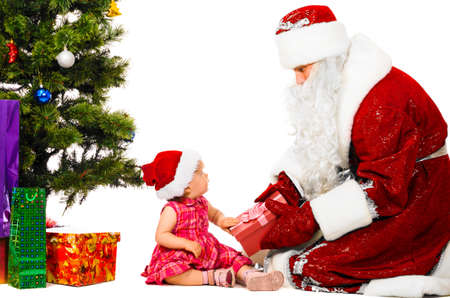 baby and santa claus photo