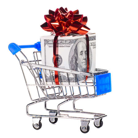 shopping cart with cash photo