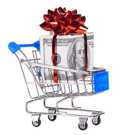cart cash: shopping cart with cash