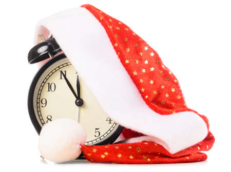 clock under santa hat Stock Photo - 16563888