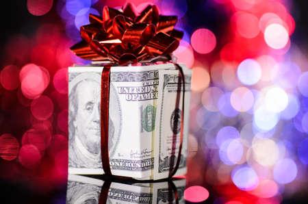 Money Gift For Christmas Five Hundred Dollar Bills For A Gift Stock ...