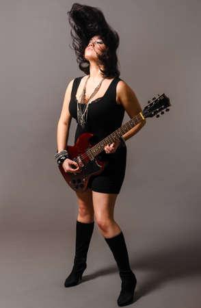woman guitar: electric guitar performer