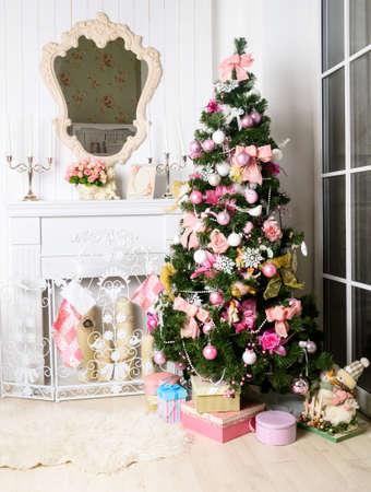 fireplace christmas: christmas interior Stock Photo