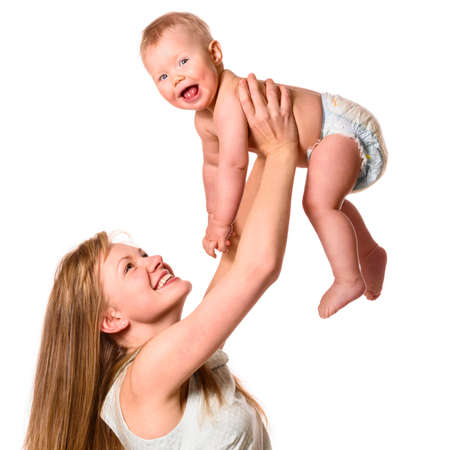 woman is holding her baby Stock Photo - 17287033