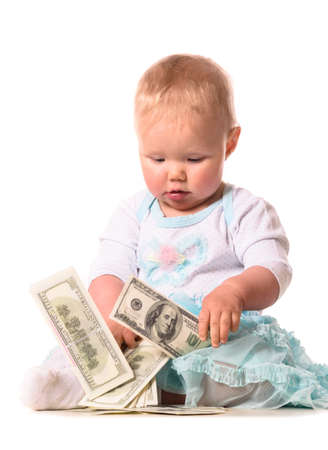 down sitting: baby is counting money