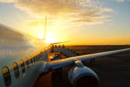 zonsondergang Aicraft Stockfoto