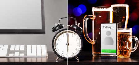 jornada de trabajo: cerveza partido despu�s de d�a de trabajo Foto de archivo
