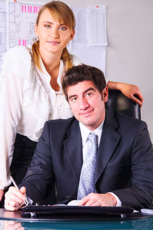 two business persons are discussing plans at office Stock Photo - 18687221