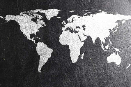 world map on chalk board  Earth silhouette is from visibleearth nasa gov photo