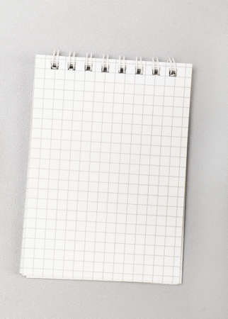 notepad notes object: blank notebook with pen on gray Stock Photo