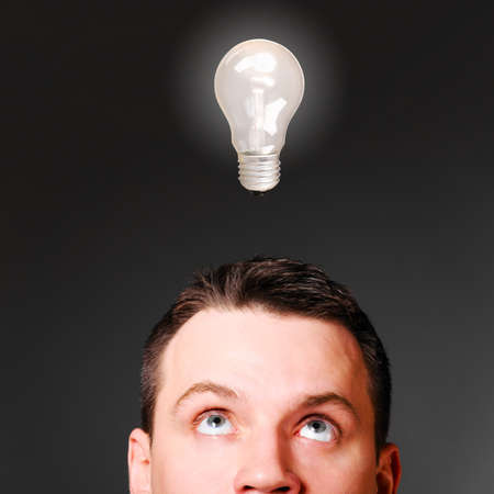 male head with bulb, idea concept Stock Photo - 19984981