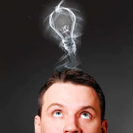 male head with bulb, idea concept Stock Photo - 19984982