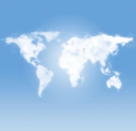 paz mundial: mapa del mundo en forma de nubes en el cielo