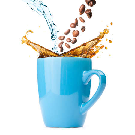 hot coffee is splashing in cup  water and beans are blending photo