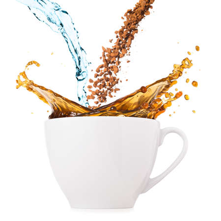 water and instant coffee are blending and splashing in cup