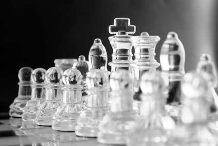 Chess team on black photo