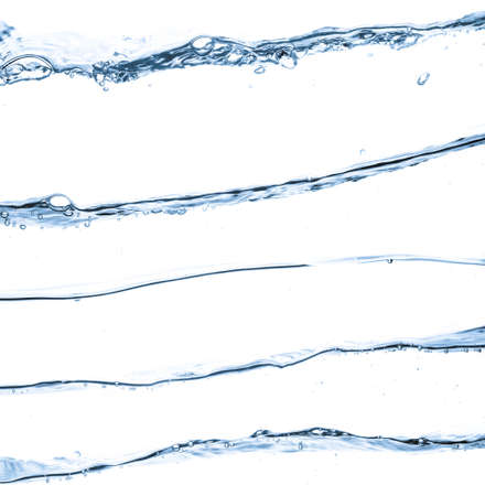water droplet: closeup of water waves isolated on white Stock Photo