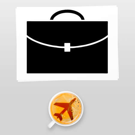 brief case: airport coffee  full cup of fresh espresso, view from above